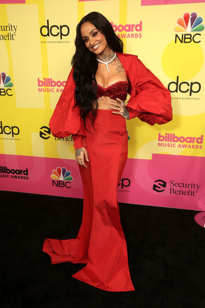 2021 BILLBOARD MUSIC AWARDS -- Pictured: In this image released on May 23, (l-r) Kehlani arrives to the 2021 Billboard Music Awards held at the Microsoft Theater on May 23, 2021 in Los Angeles, California. -- (Photo by: Todd Williamson/NBC)