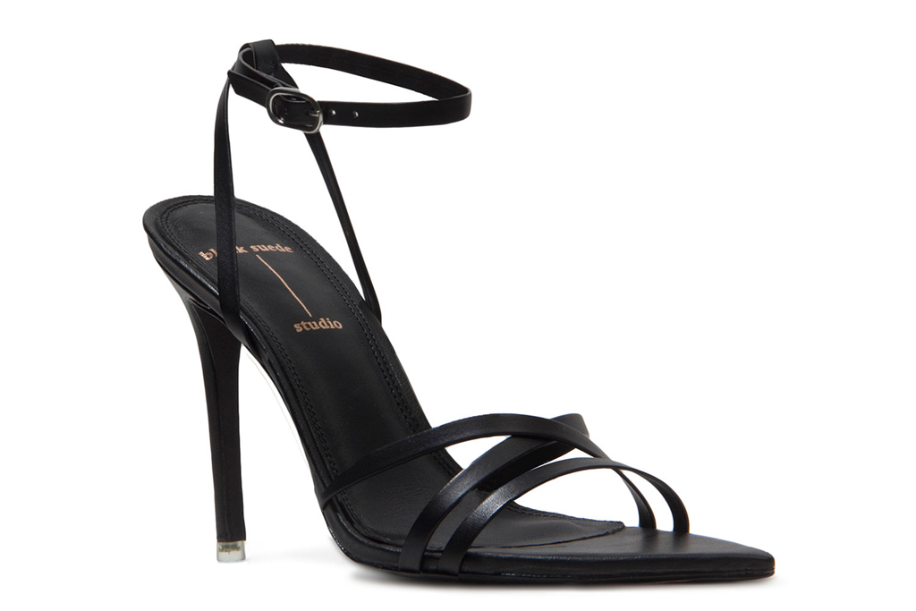 black heels, wrap sandals, black suede studio