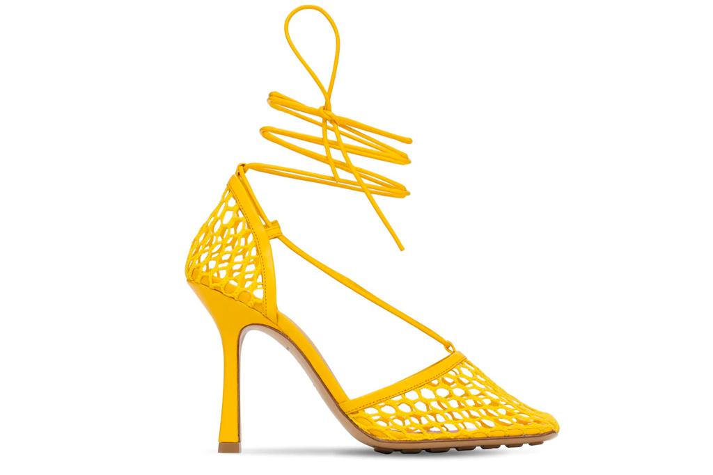 bottega veneta, fishnet, sandals, yellow