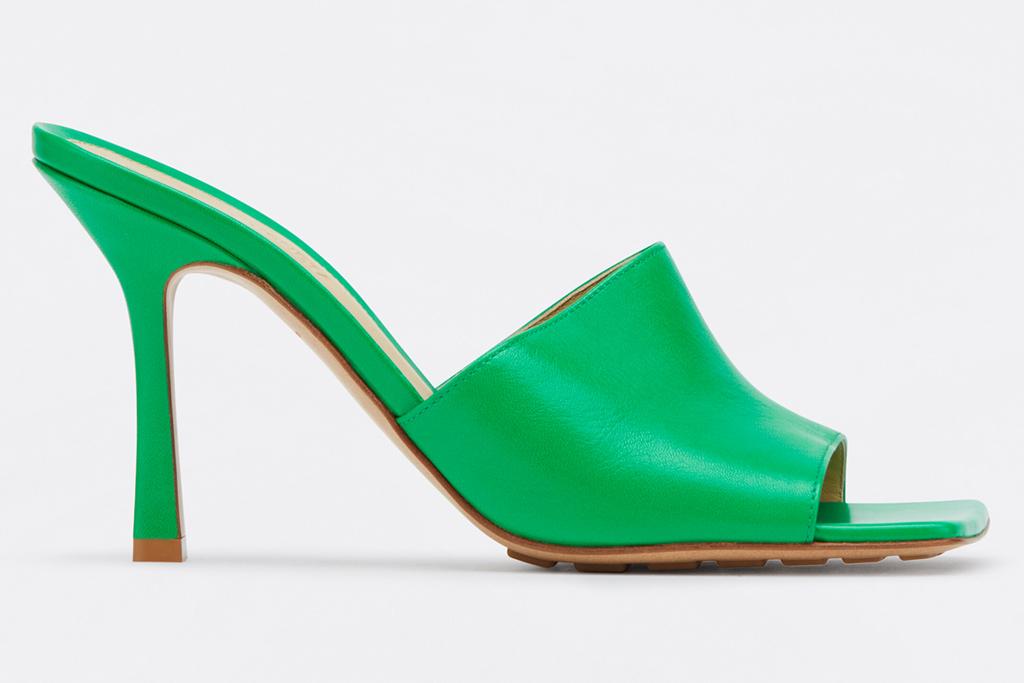 bottega veneta, green sandals, stretch