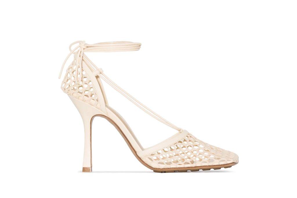 bottega veneta, mesh sandals, cream heels