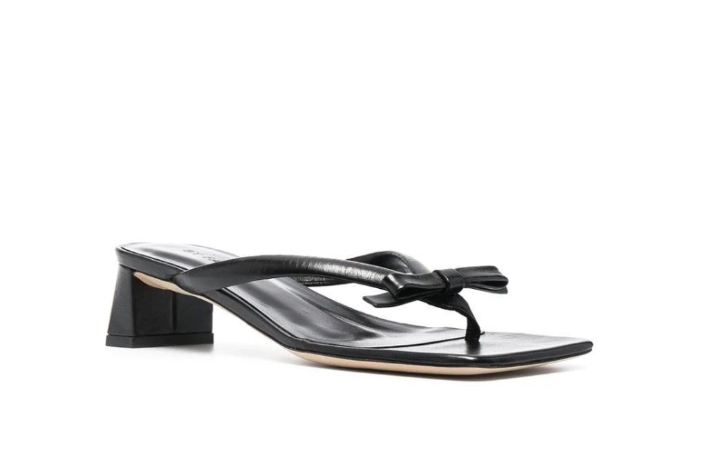 by far, bow sandals, square heels