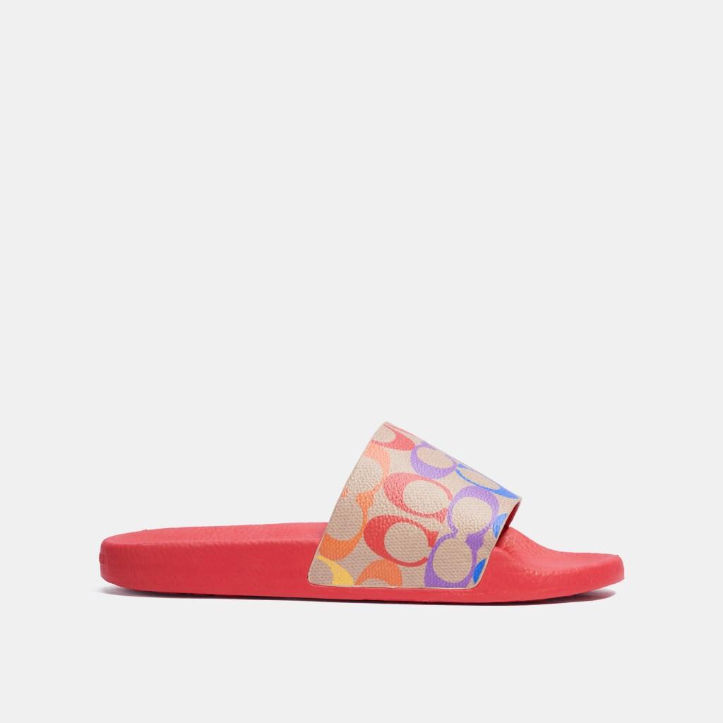 coach, pride, 2021, rainbow, signature, pattern, lgbtq, slides, sandals