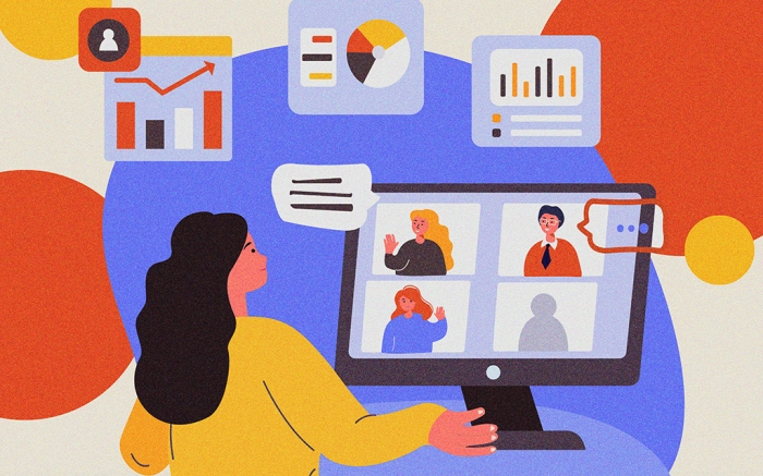 Business Online Conference.Work,Virtual Webinar.Stay Home.Colleagues,Telework Freelancer Connection.Remote Workplace.Distance Chat Correspondence.Internet Discussion,Isolation.Flat Vector Illustration