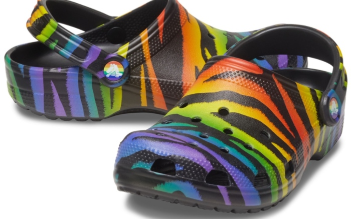 crocs pride 2021 animal print clogs, rainbow, lgbtq, pride month