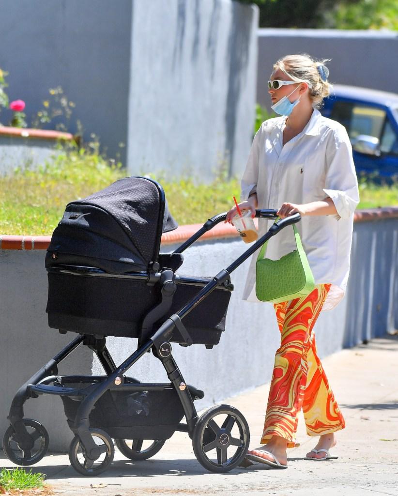 Elsa Hosk, button down, swirl pants, thong sandals, LA