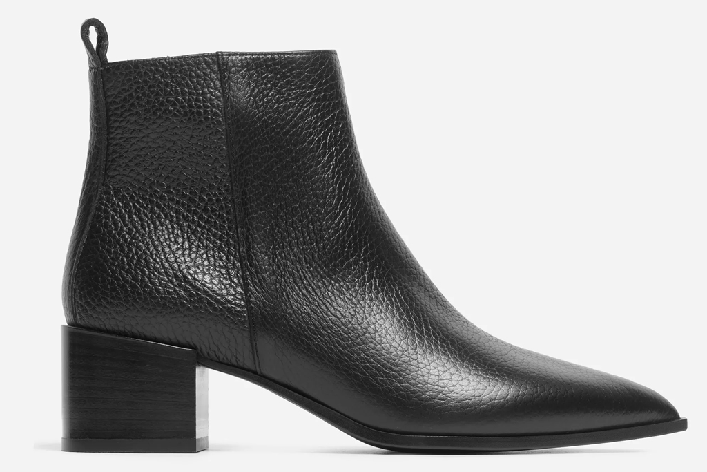 black boots, booties, leather, everlane