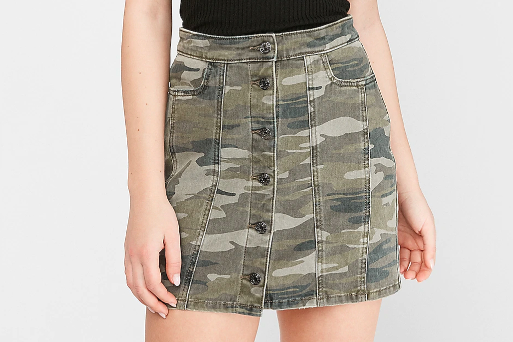 camo skirt, mini skirt, express