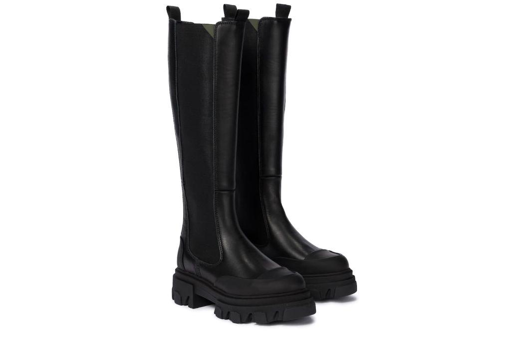 ganni, leather boots, lug boots