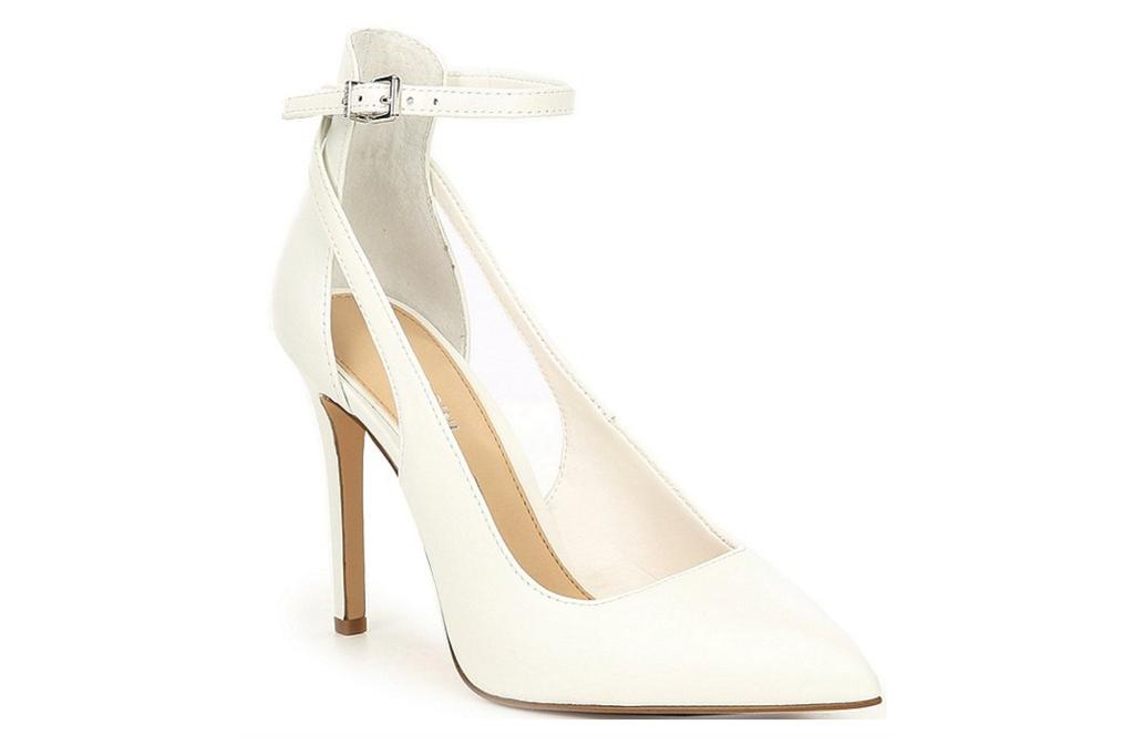 white heels, pumps, pointed toe, gianni bini