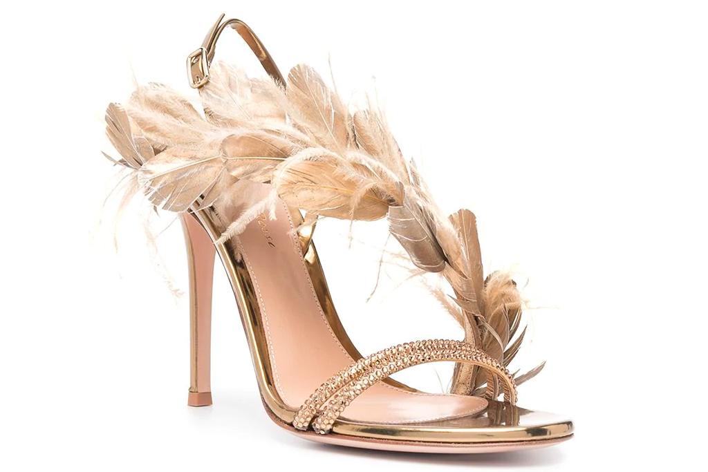 gianvito rossi, heels, sandals, feather