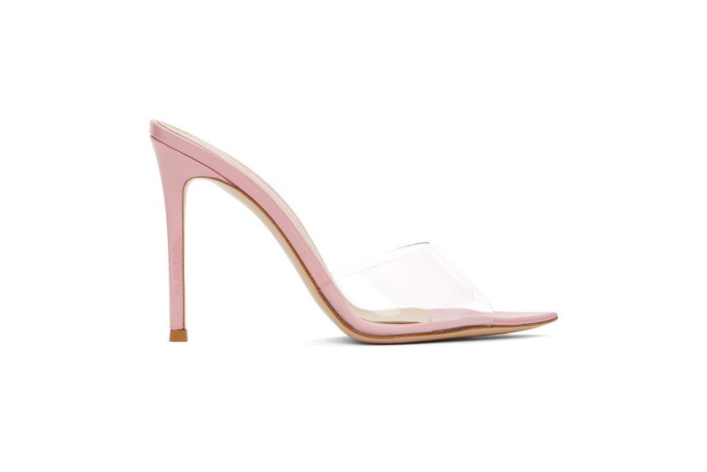 gianvito rossi, pink elle 105 heels, transparent heels