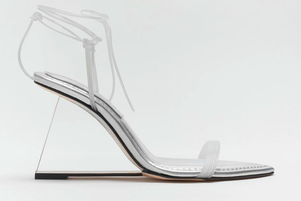 wedge heels, pvc, clear, good american