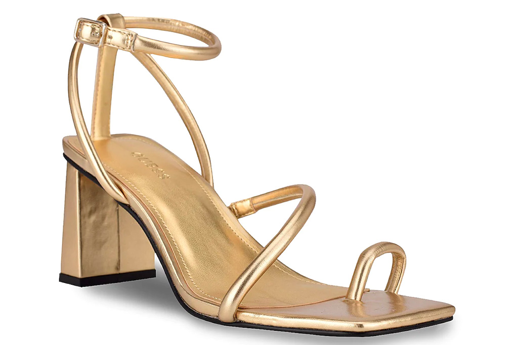 sandals, metallic, loop toe, guess