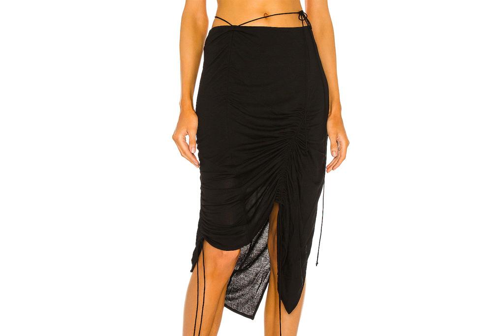 black skirt, ruched, helmut lang