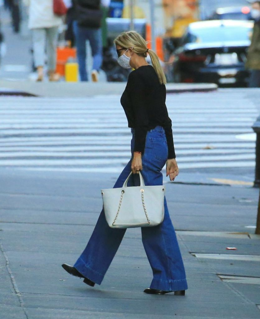 ivanka trump, sweater, shirt, jeans, flare jeans, face mask, new york, boots
