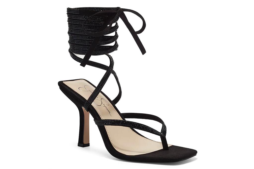 black heels, wrap sandals, jessica simpson