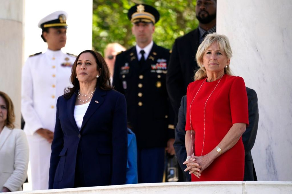 jill biden, red dress, pearls, heels, memorial day, arlington, tomb of the unknown soldier, kamala harris, suit, president joe biden, doug emhoff