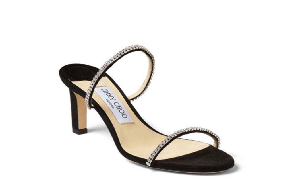 jimmy choo, brea crystal suede mule sandals, jewel heels