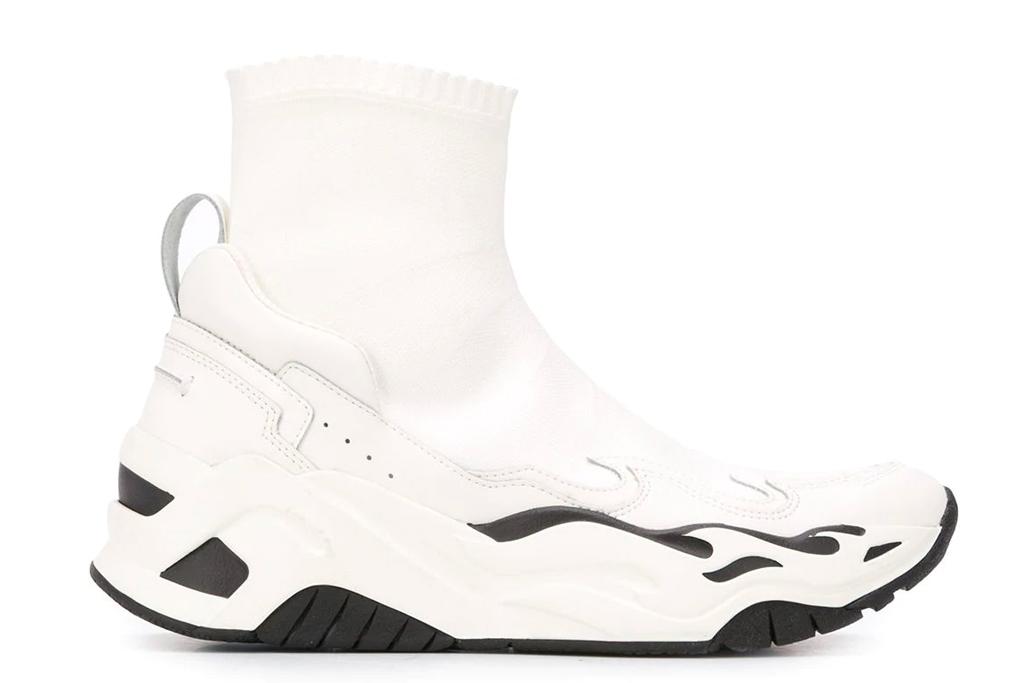 white sneakers, sock, just cavalli