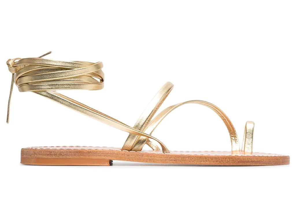 sandals, metallic, loop toe, k jacques