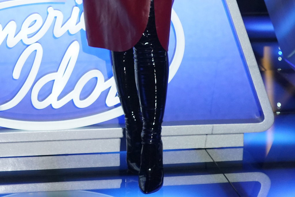 katy perry, leather dress, thigh-high boots, boots, tights, american idol, set, red