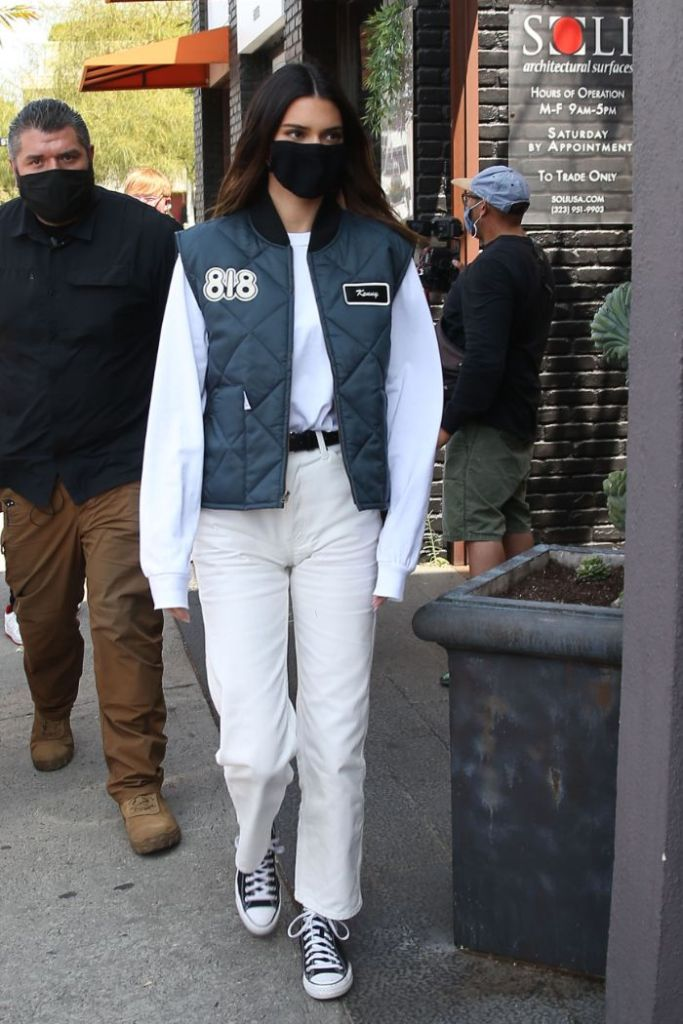 kendall jenner, jeans, vest, 818 tequila, truck, where to buy, sneakers, converse, la