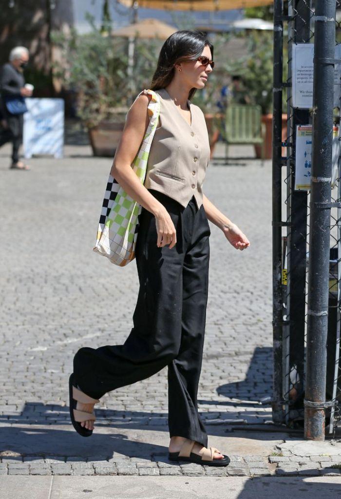 kendall jenner, vest, sleeveless top, pants, menswear, suit, slides, sandals, ugly sandals, la