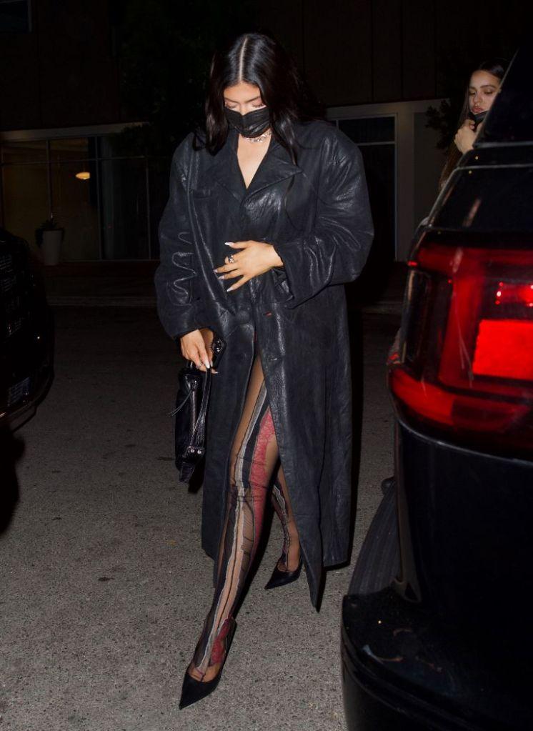 kylie jenner, mesh tights, tights, coat, leather, heels, balenciaga, rosalia, dinner, la