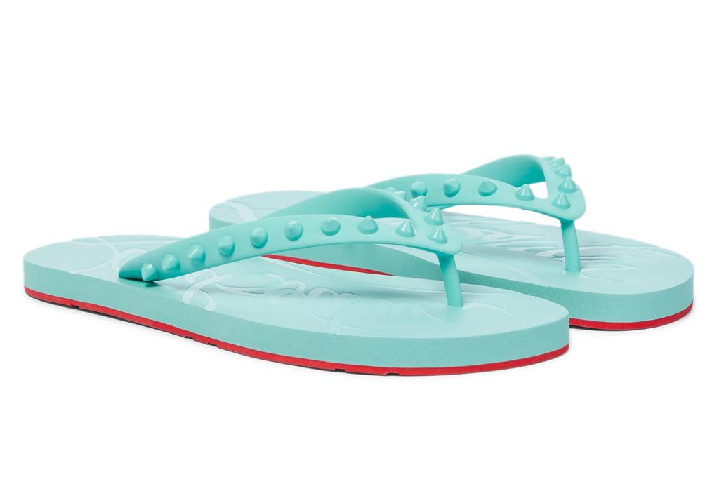 blue flip flops, louboutin