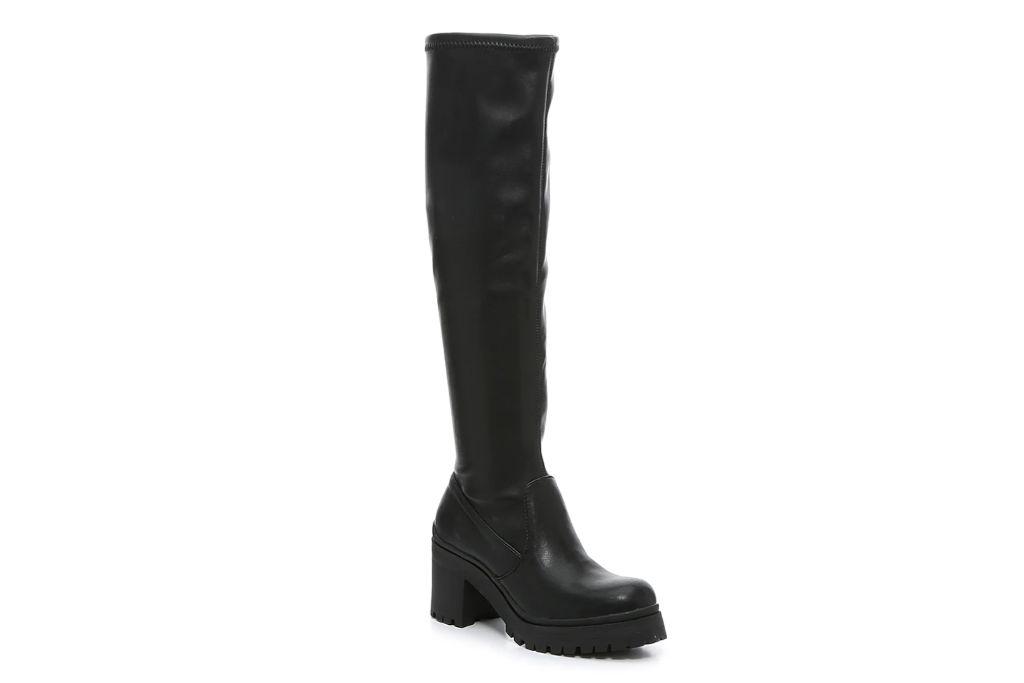 madden girl, coretta boot, black lug sole boots
