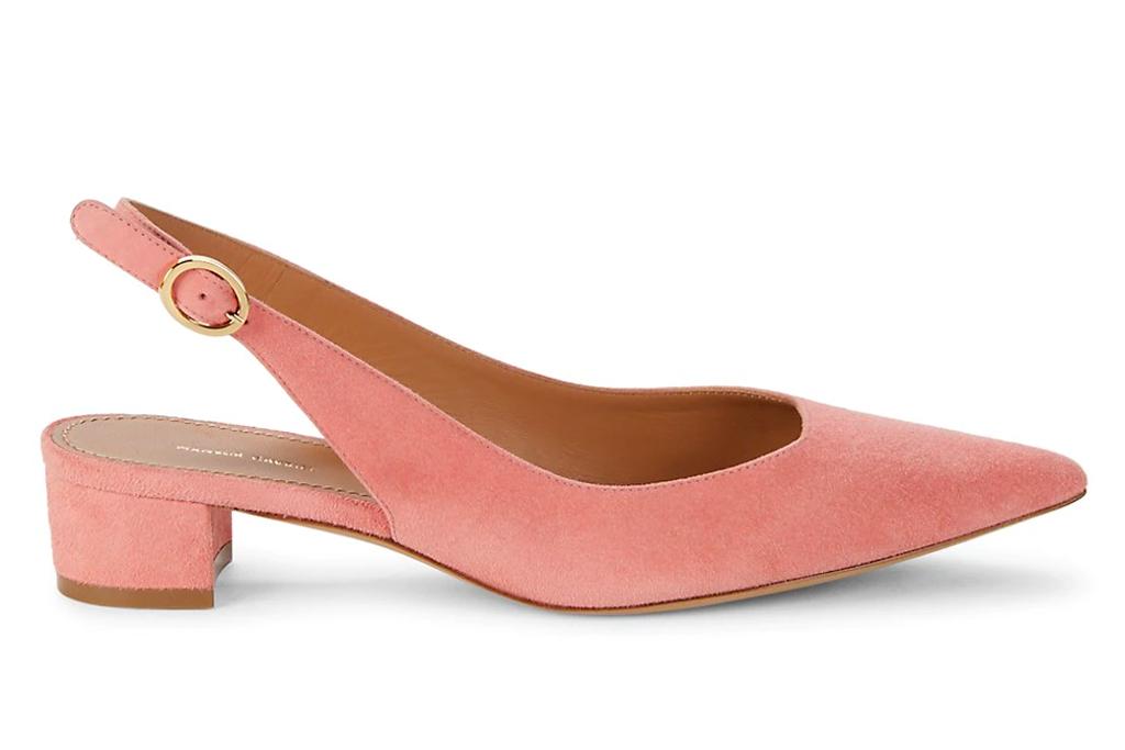 pink heels, slingbacks, mansur gavriel