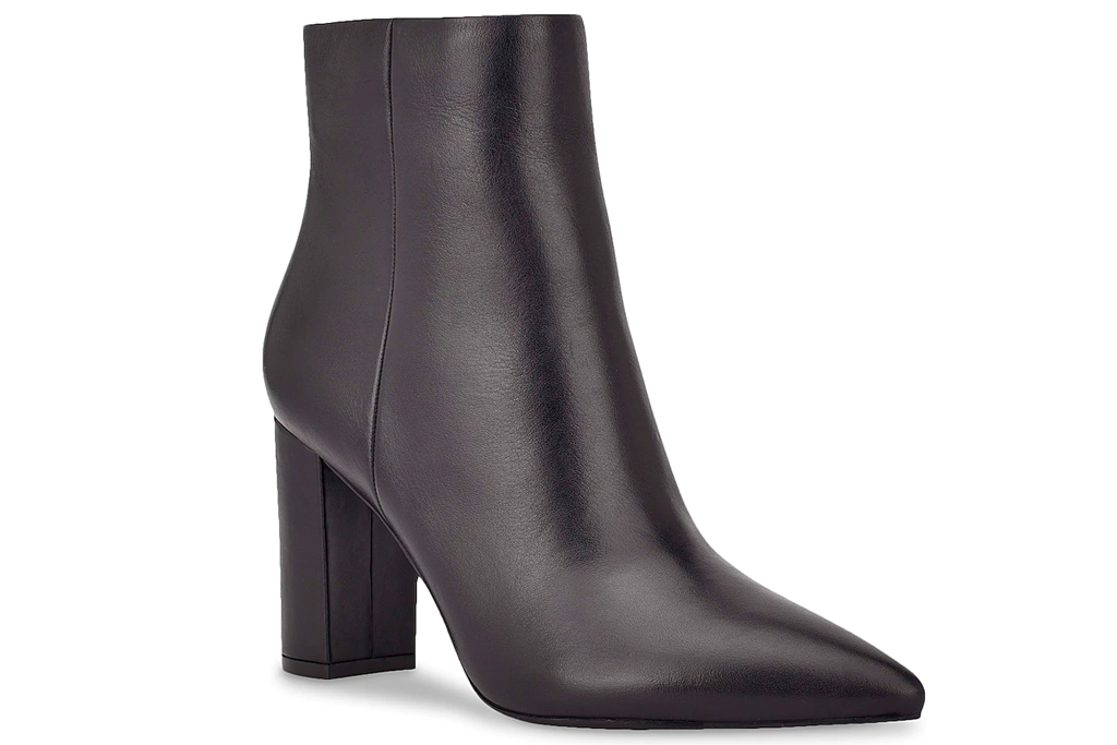 black boots, booties, leather, marc fisher