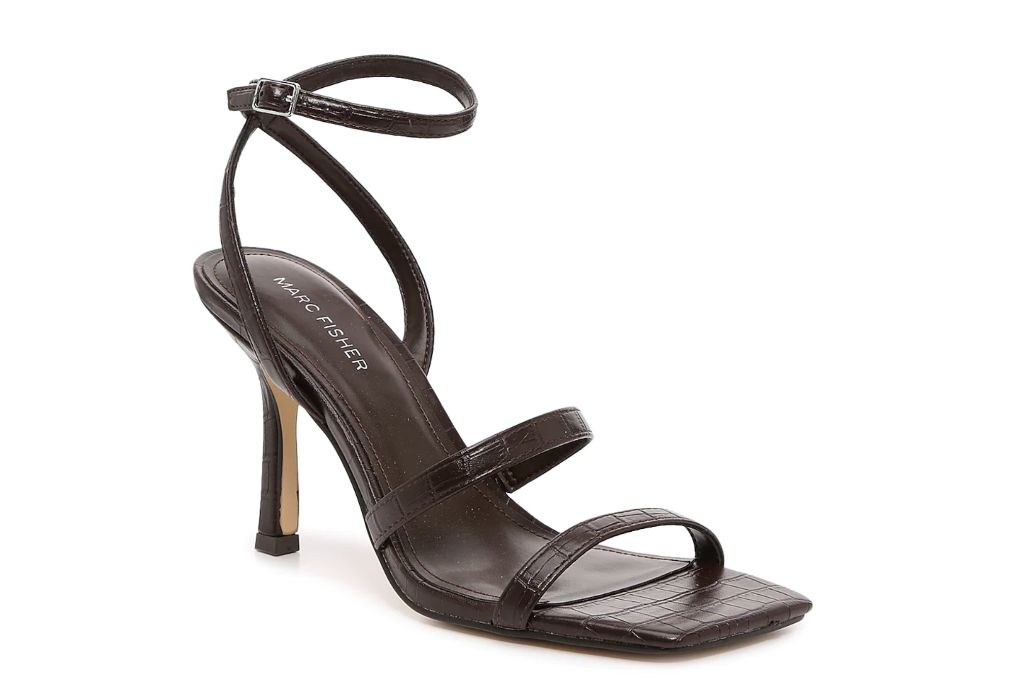 marc fisher, deric sandal, brown square toe heels
