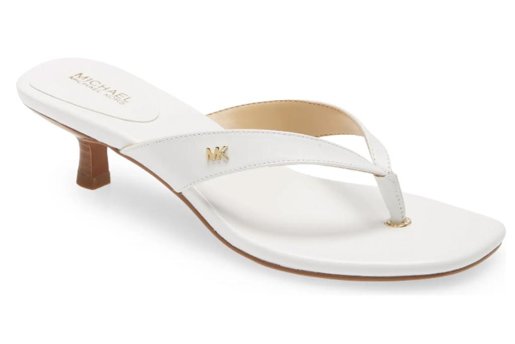 white sandals, thong toe, heels, michael kors