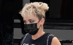 miley cyrus, skirt, plaid skirt, fishnet