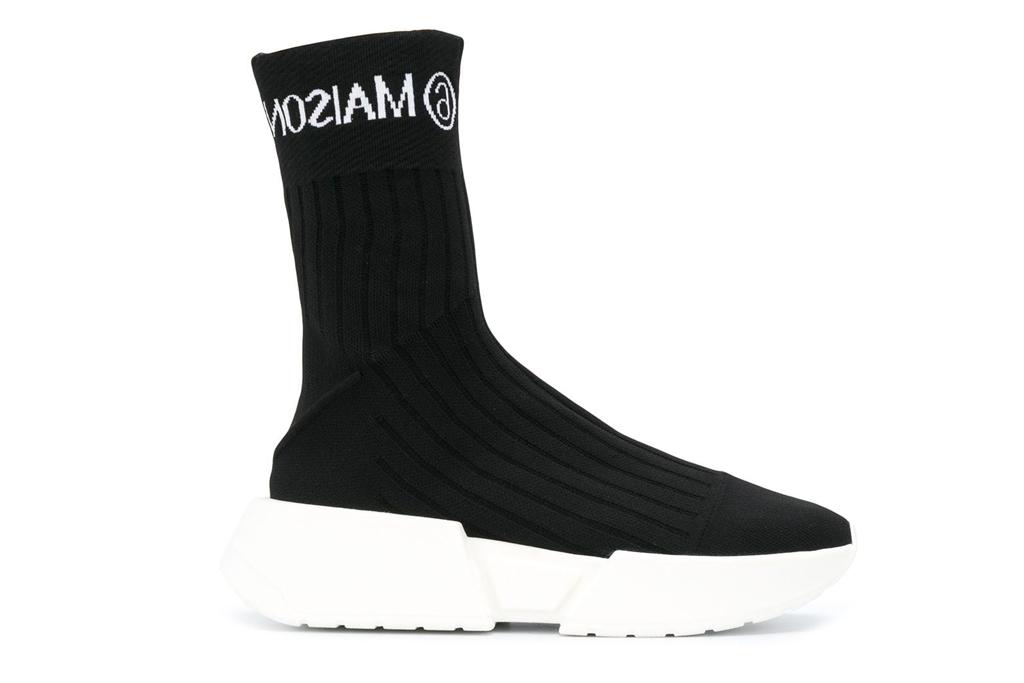 black sneakers, sock style, mm6