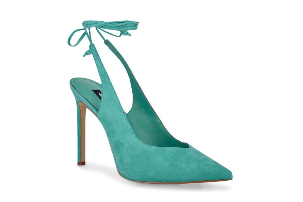 nine west, talon pump, turquoise heels