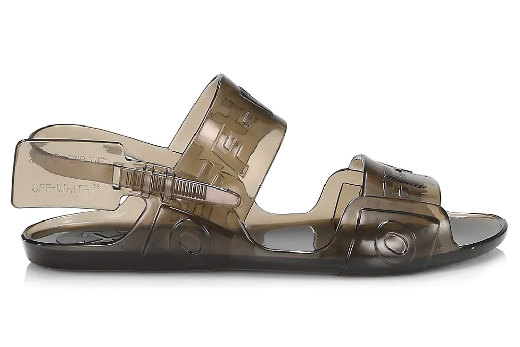 jelly sandals, slides, off-white