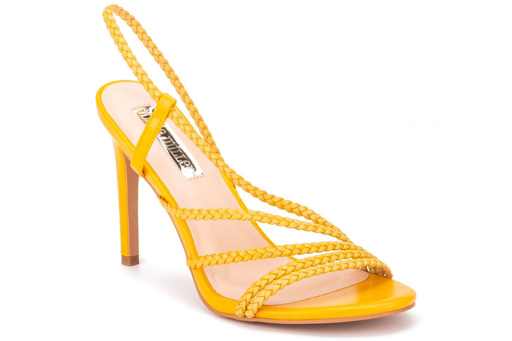 yellow heels, sandals, olivia miller