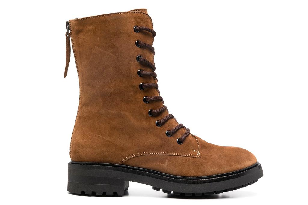 combat boots, brown suede, parosh