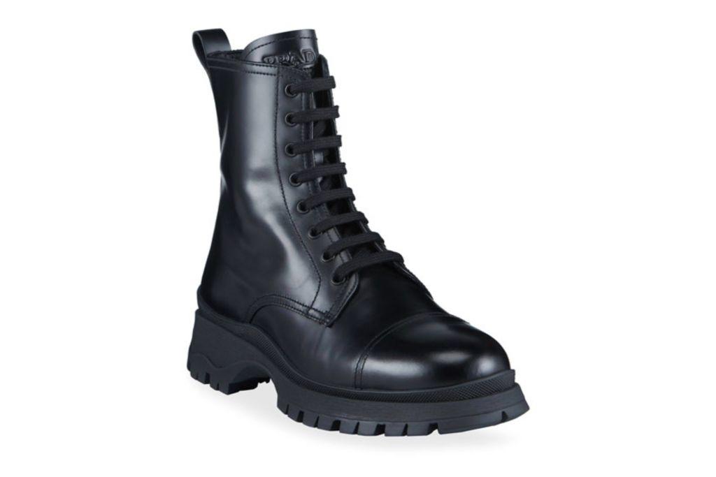 prada, leather lug-sole combat boots, black boots