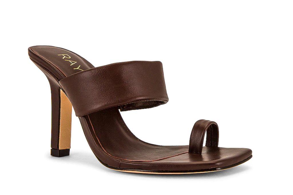 raye, rossi heel, brown square heel