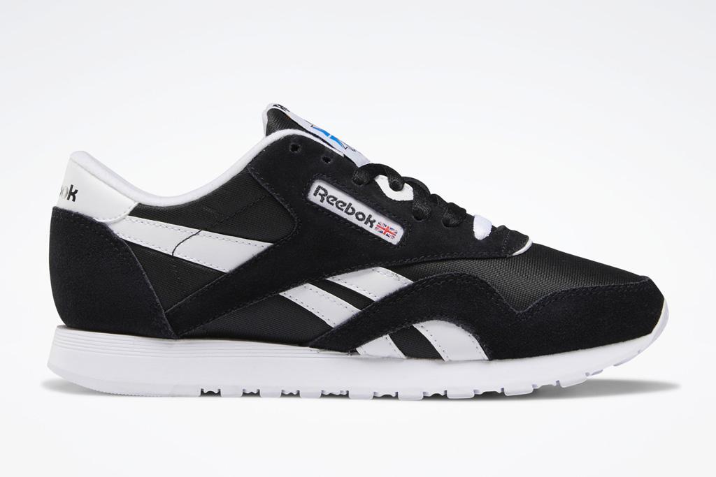 sneakers, black, white, nylon, reebok