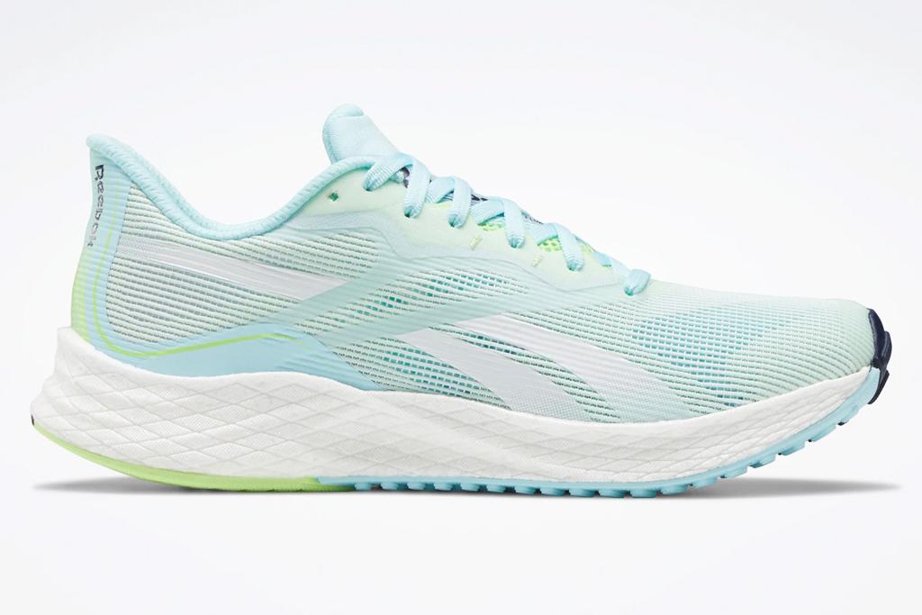 sneakers, neon blue, reebok