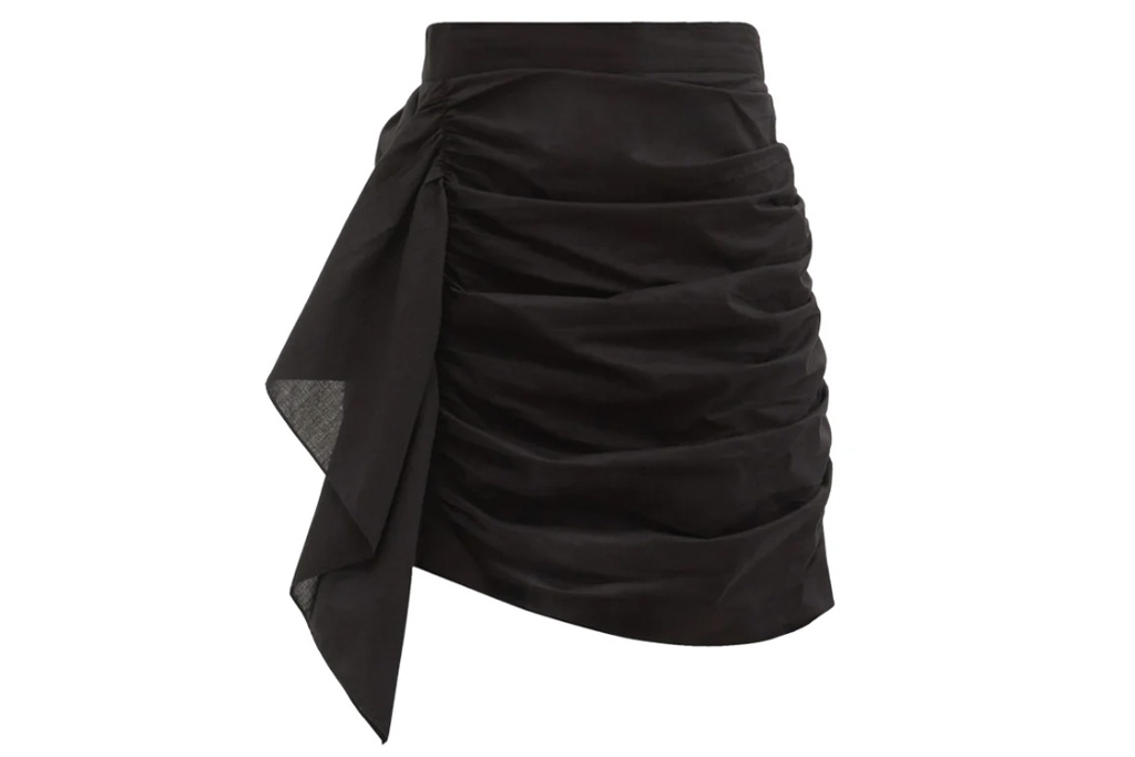black skirt, ruched, rhode