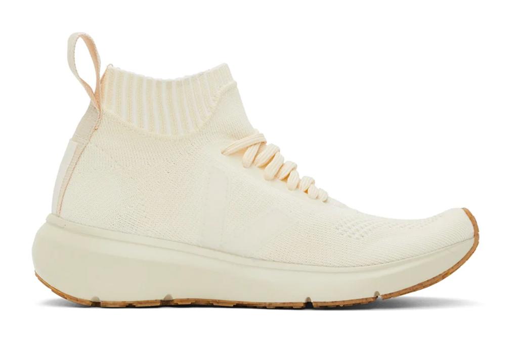white sneakers, sock, rick owens, veja