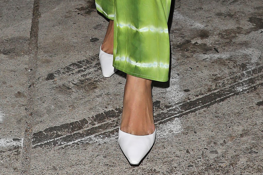 rihanna, crop top, coat, fur, tie-dye pants, heels, white heels, haircut, dinner, la