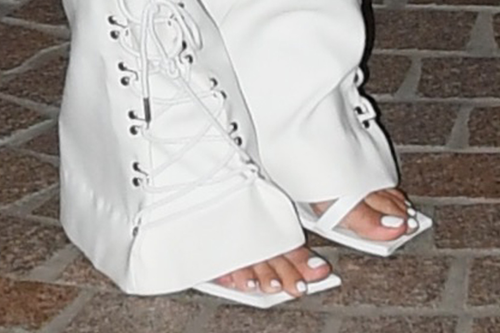 rita ora, lace top, pants, blazer, lace-up pants, heels, sandals, square toe, australia, drag race