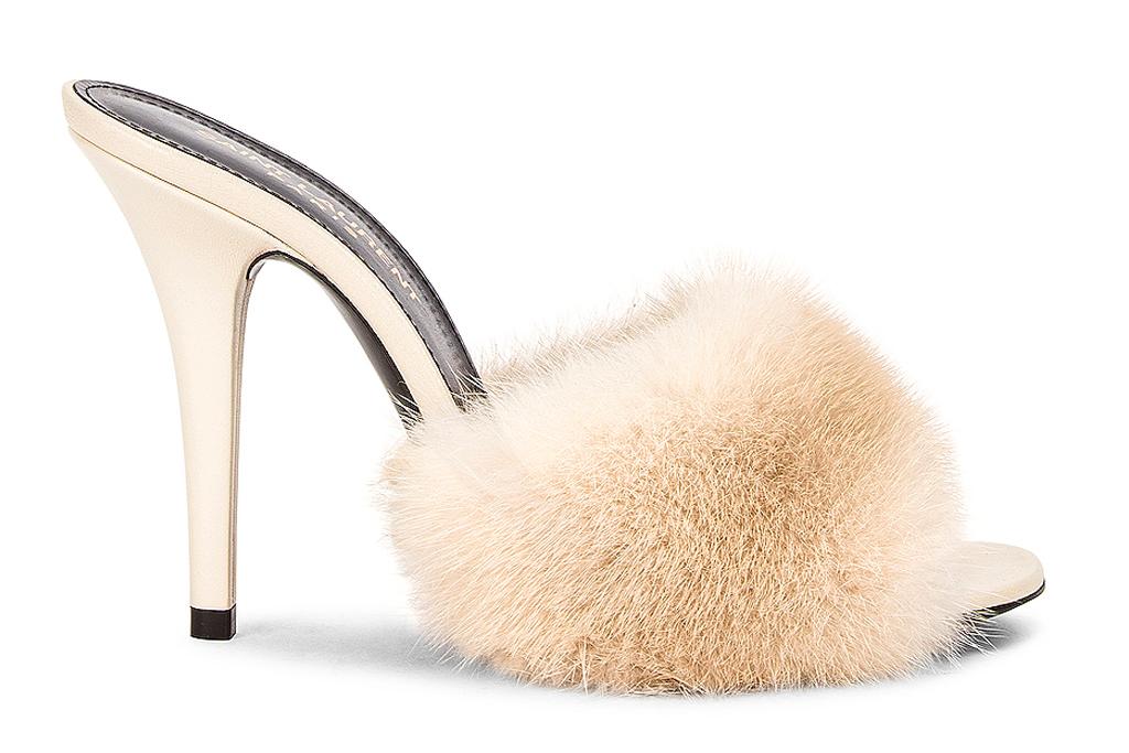 saint laurent, fur, heels, mules